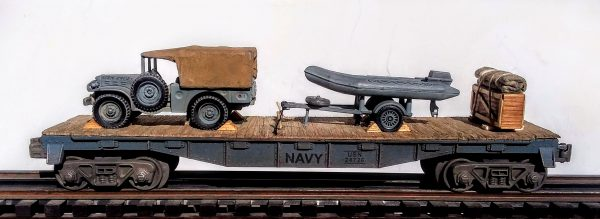 "U.S. Navy Dodge WC51 Cargo Carrier w/USN Zodiac Boat w/Motor & Tow Trailer on 40′ Flat Car USNX 23532(V23-FC2.2USN)_Operates on 3-Rail ""O""Gauge track"