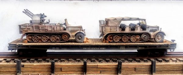 """US Army Captured German WWII Prime Movers, SdKfz 7HT & SdKfz 7/1HTw/20mm AA on 50′ US Army Flat Car, USAX27523(CAPMV16A.5-16B.5-FC6.2)_Operates on 3-Rail """"O""""Gauge track  • Available Today •"""