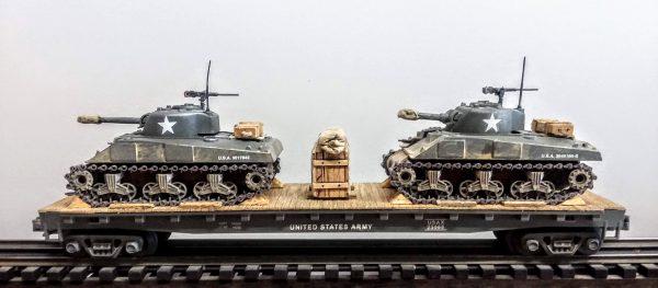 "US Army M4A3 Sherman Tanks w/75mm & 105mm Turrets on 50′ Flat Car USAX 23565(MV8AA.1-FC6.2USA)_Operates on 3-Rail ""O""Gauge track"