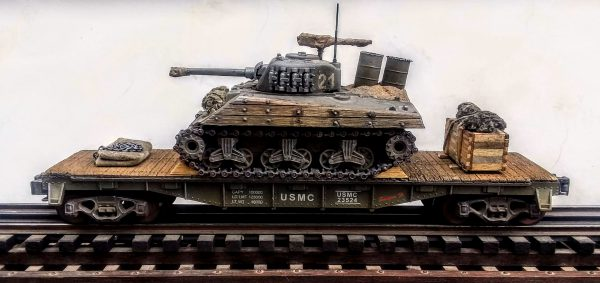 "USMC Sherman M4A3w/Improvised 55 Gal. Drum Deep Wading Trunks & Turret Track Armor/40′ Flat Car USMC23524(AV3G.2-FC2.2USMC)_Operates on 3-Rail ""O""Gauge track"