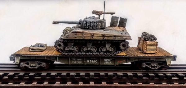 "USMC Sherman M4A3w/Improvised 55 Gal. Drum Deep Wading Trunks & Turret Track Armor/40′ Flat Car USMC23524(AV3G.2-FC2.2USMC)_Operates on 3-Rail ""O""Gauge track  • Available Today •"