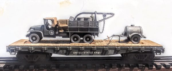 "US Army GMC Cargo Truck w/Rescue Hoist & Container Tow Trailer on 42′ Flat Car, USAX 23564(V8C-FC3.2USA)_Operates on 3-Rail ""O""Gauge track"