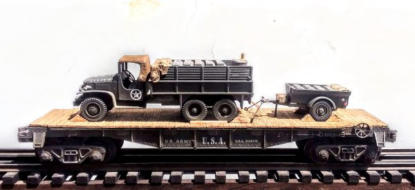 "US Army GMC Cargo Truck with Gas Can Load & Tow Trailer on 40′ Flat Car, U.S.A. 2146131(V8D-FC2.2USA)_Operates on 3-Rail ""O""Gauge track"