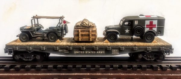 "US Army WC54  Dodge Ambulance & Jeep Stretcher Ambulance/42′ Flat Car USAX23550(MV3A-4C-FC3.2USA)_Operates on 3-Rail ""O""Gauge track"