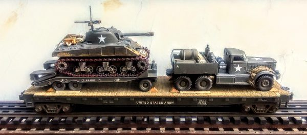 "US Army M-20 Diamond T 12 Ton Prime Mover with M-9 Tank Transport & M4A3 Sherman Tank on 50′ Flat Car USAX 23562(V15.4-FC6.2USA)_Operates on 3-Rail ""O""Gauge Track"