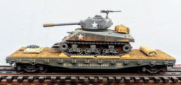 """US Army M4A3(76)W Sherman Tank w/Cullen Hedgerow Device & 76mm Gun on 42'Flat Car USAX23533(AV3.5-FC3.2USA)_Operates on 3-Rail """"O""""Gauge track  • Available Today •"""