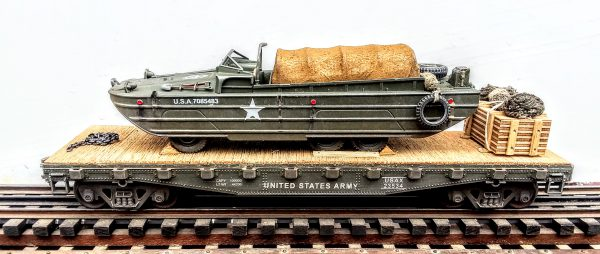 """US Army GMC Amphibious DUKW w/Tarp Cargo Cover & Tire Bumpers on 42′ Flat Car USAX23534(BSA2.1-FC3.2USA)_Operates on 3-Rail """"O""""Gauge track  • Available Today •"""