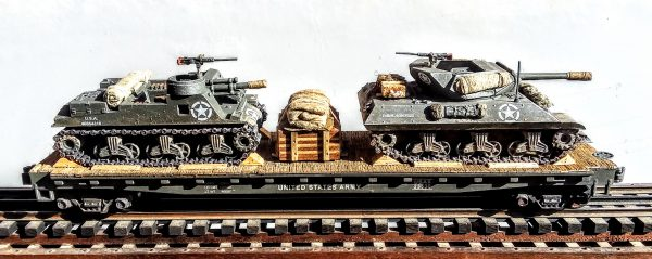 """US Army M10 Tank Destroyer w/Cullen Hedgerow Device & M7 """"Priest"""" & Supply Load on 50′ Flat Car USAX 23530(MV11C+13-FC6.2USA)_Operates on 3-Rail """"O""""Gauge track  • Available Today •"""