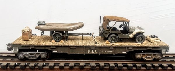 """US Army Willy's Jeep with Cover & Zodiac Assault Boat with Outboard Motor on Tow Trailer on 40′ Flat Car_U.S.A.3303852(V4B.1-FC2.2USA)_Operates on 3-Rail """"O""""Gauge track  • Available Today •"""