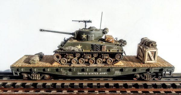"""US Army M4A3E8 """"Easy Eight"""" Sherman Tank on 42′ Flat Car, USAX 23545(AV3.3B-FC3.2USA)_Operates on 3-Rail """"O""""Gauge track  • Available Today •"""