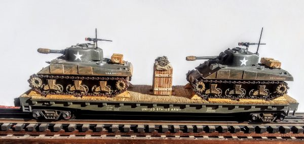 "US Army M4A3 Sherman Tanks w/75mm & 105mm Turrets on 50′ Flat Car USAX 26556(MV8AA.1-FC6.2USA)_Operates on 3-Rail ""O""Gauge track"