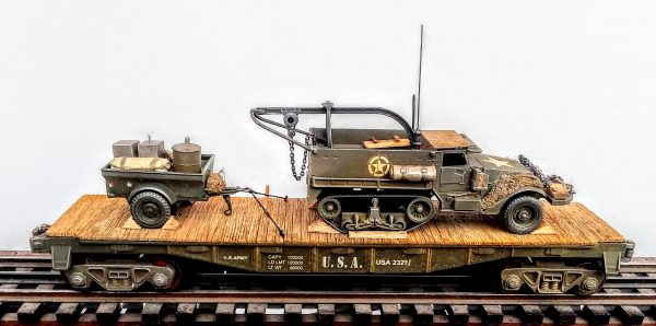 "US Army M3 Half Track w/Recovery Hoist & Trailer Tow w/Supply Load on 40′ Flat Car USA 23277(AV9D-FC2.2USA)_Operates on 3-Rail ""O""Gauge track"