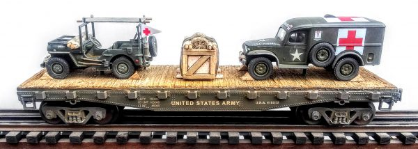 "US Army Jeep Stretcher Ambulance & WC54  Dodge Ambulance/42′ Flat Car U.S.A.415212(MV3A-4C-FC3.2USA)_Operates on 3-Rail ""O""Gauge track"