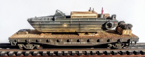 "US Army GMC Amphibious DUKW w/Cargo Supplies & Tire Bumpers on 42′ Flat Car U.S.A.511629(BSA2.1-FC3.2USA)_Operates on 3-Rail ""O""Gauge Track"