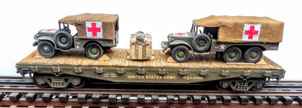 "US Army WC51 Dodge 4×4 & WC63 Dodge 6X6 Ambulances on 42′ Flat Car U.S.A.408546(MV29-FC3.2USA)_Operates on 3-Rail ""O""Gauge track"