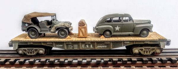 "US Army_Ford Staff Car & WC56 Dodge Command Car on 40′ Flat Car w/ Supply Crate USAX 23218(MV15AE-FC2.2USA)_Operates on 3-Rail ""O""Gauge Track"