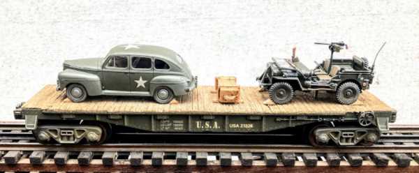 """US Army_Ford Staff Car & Willy's Jeep on 40′ Flat Car w/ Supply Crate_USAX 23326(MV4AE-FC2.2USA)_Operates on 3-Rail """"O""""Gauge Track • Available Today •"""