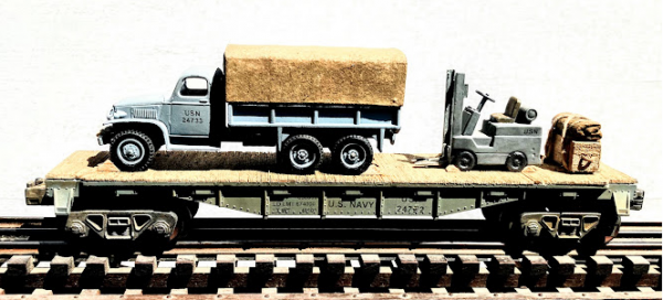 """US Navy GMC 6×6 Cargo Truck w/Cargo Cover & Fork Lift Truck Load on 40′ Flat Car w/Supply Load, USN 24722(V8AK-FC2.2USA)_Operates on 3-Rail """"O""""Gauge track  • Available Today •"""